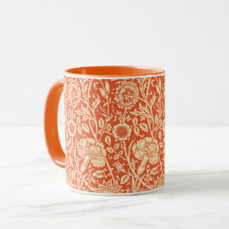 Art Nouveau Carnation Damask, Mandarin Orange Mug