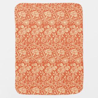Art Nouveau Carnation Damask, Mandarin Orange Swaddle Blanket