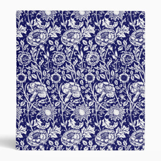Art Nouveau Carnation Damask, Navy and White Binder