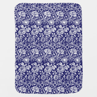 Art Nouveau Carnation Damask, Navy and White Baby Blanket