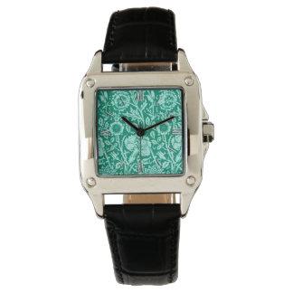 Art Nouveau Carnation Damask, Turquoise Wrist Watch