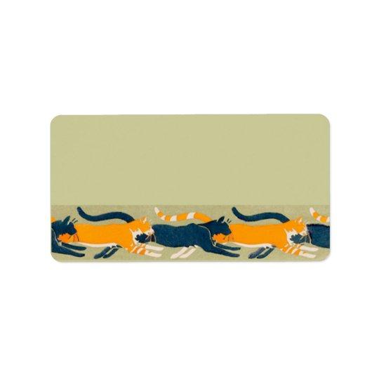 Art Nouveau Cats Label