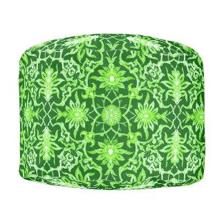 Art Nouveau Chinese Pattern - Emerald Green Pouf