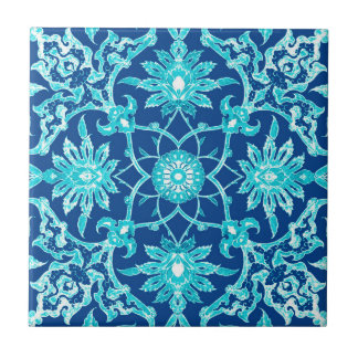 Art Nouveau Chinese Pattern - Turquoise and Blue Tile