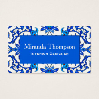 Art Nouveau Chinese Tile - Cobalt Blue & White Business Card