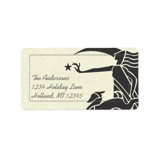 Art Nouveau Deer Damask Return Address Labels