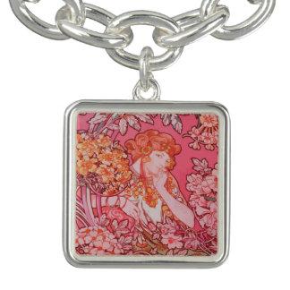 Art Nouveau design Charm Bracelet, Silver Plated