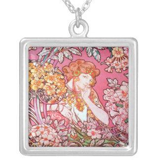 Art Nouveau Design Large  Square Necklace