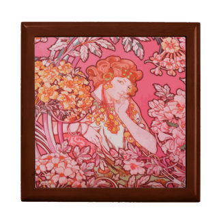 Art Nouveau design Tile Gift Box, Golden Oak Gift Box