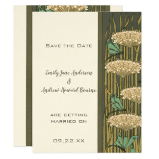 Art Nouveau Dragonfly Lily Pad Save the Date Card