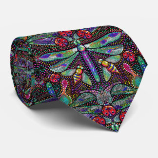 Art nouveau dragonfly necktie men's tie
