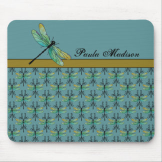 Art Nouveau Dragonfly on Teal Mouse Pad