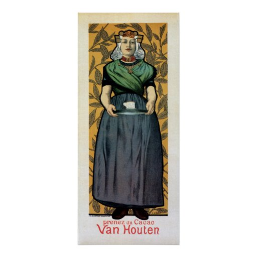 Art Nouveau Dutch chocolate ad vertical banner Poster