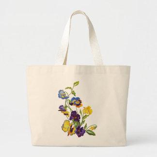 Art Nouveau Embroidered Pansies Jumbo Tote Bag