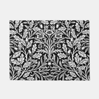 Art Nouveau Floral Damask, Black and White Doormat