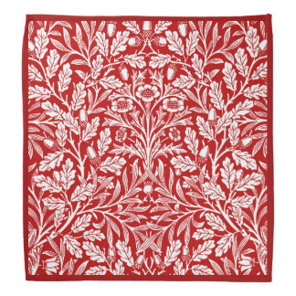 Art Nouveau Floral Damask, Dark Red and White Kerchief