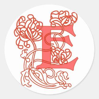 """Art Nouveau Floral """"E"""" Monogram Classic Round Sticker"""