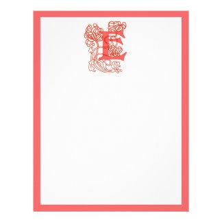 """Art Nouveau Floral """"E"""" Monogram Personalized Letterhead"""