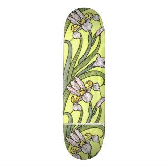 Art Nouveau Floral Iris Flowers Skateboard