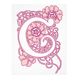 Art Nouveau Floral Monogram C Custom Letterhead