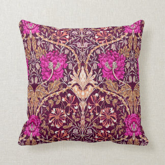 Art Nouveau Floral, Plum, Beige and Deep Purple Throw Pillow