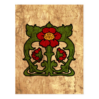 Art Nouveau Flower Motif Postcard