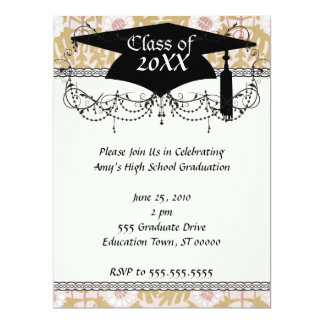 art nouveau flower pattern graduation card