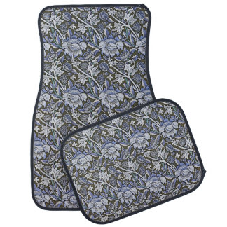 Art Nouveau Flower Pattern Shades of Blue Car Liners