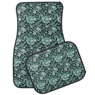 Art Nouveau Flower Pattern Shades of Green Car Floor Carpet