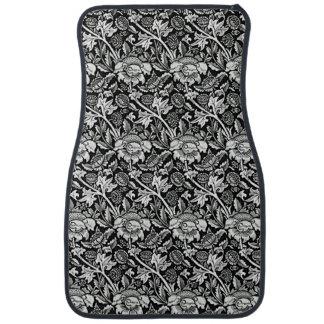 Art Nouveau Flower Pattern Shades of Grey Car Mat