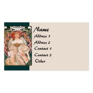 Art Nouveau Flowers Lady Woman Floral Nostalgia Business Card