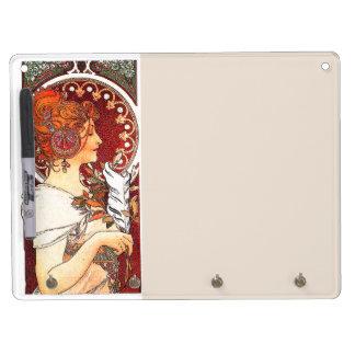 Art Nouveau Flowers Lady Woman Floral Nostalgia Dry-Erase Whiteboard