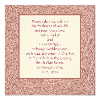 Art Nouveau Frame invitation in pink and cream