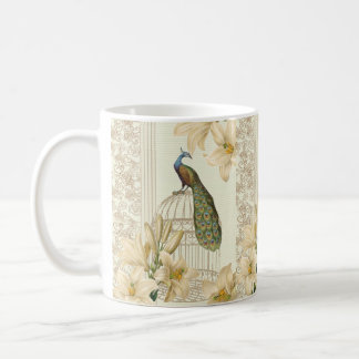 art nouveau  french lily vintage birdcage peacock coffee mug
