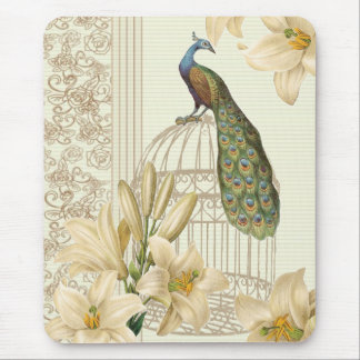 art nouveau  french lily vintage birdcage peacock mouse pad