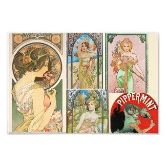 Art Nouveau French Women Art Mosaic Photo Print