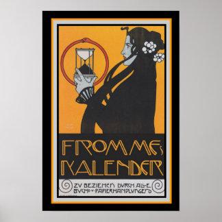 """Art Nouveau """"Frommes Kalender""""  13 x 19 Poster"""