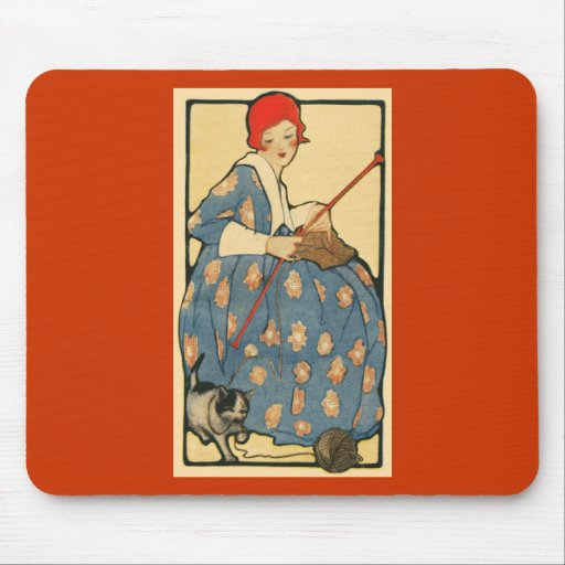 Art Nouveau -Girl knitting with her cat Mouse Pad