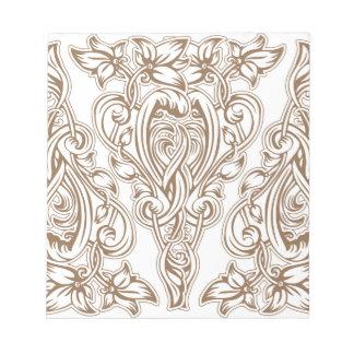 art nouveau, gold,white,vintage,pattern,floral, notepad