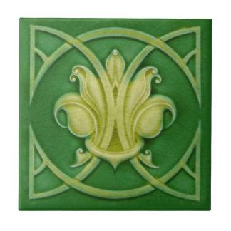 Art Nouveau Gothic Green Fleur de Lis Repro Tile