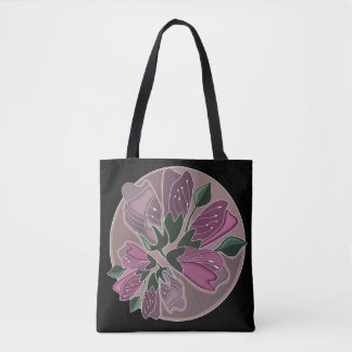 Art nouveau green and dusty pink floral print tote bag