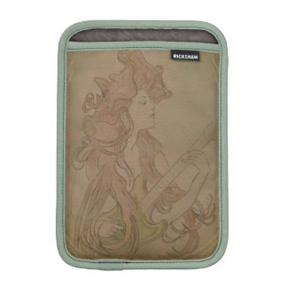Art Nouveau Guitar Girl Vintage iPad Mini Sleeve