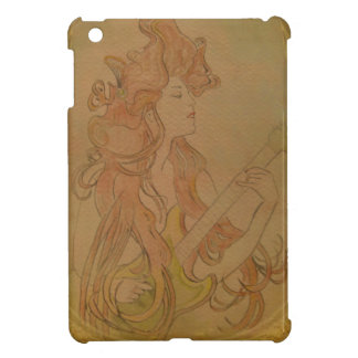Art Nouveau Guitar Girl Vintage Peach Cover For The iPad Mini