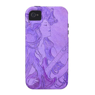 Art Nouveau Guitar Girl Vintage Purple Case-Mate iPhone 4 Cases