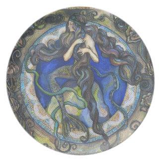 """Art Nouveau inspired Mermaid"" Melamine Plate"