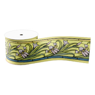 Art Nouveau Iris Floral Flowers Ribbon Grosgrain Ribbon