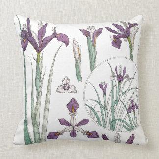 Art Nouveau Iris Flower Floral Garden Pillow