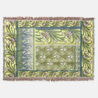 Art Nouveau Iris Flowers Floral Garden Throw
