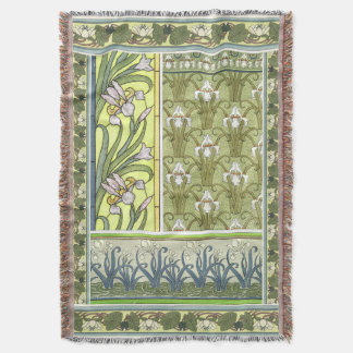 Art Nouveau Iris Flowers Floral Water Garden Throw