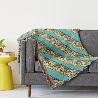 Art Nouveau Iris Flowers Stripes Throw Blanket